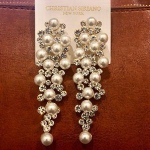 NWT Pearl Crystal Cluster Drop Earrings